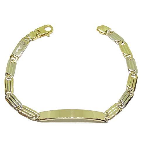 Pulsera para hombre de oro amarillo y oro blanco macizo de 18k con placa, de 0.60cm de ancha y 21.00cm de larga. 22.30gr de oro de 18k