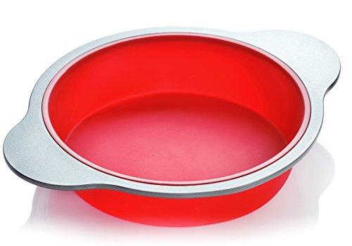 Teglia rotonda per torta in silicone | Teglia per la preparazione di torte 22,8 cm di larghezza di Boxiki Kitchen | La migliore teglia antiaderente|Silicone approvato dall'FDA con struttura in accia