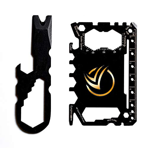 KEMA 46-in-1 Multitool Credit Card with Knife, Screwdriver, Box Cutter, Wrench, and Beer Bottle Opener, Compact Wallet Size Survival Tool, Stainless Steel Construction