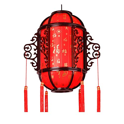 Home Equipment Pendant Light Chinese Antique Solid Wood Palace Lanterns Red Chinese New Year Lanterns Festive Lights Balcony Indoor Outdoor Hanging Lamps Pendant Lights (Size : M)