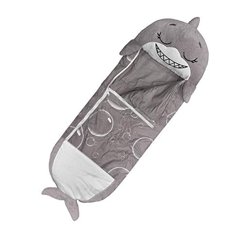 """Happy Nappers Pillow & Sleepy Sack- Comfy, Cozy, Compact, Super Soft, Warm, All Season, Sleeping Bag with Pillow- Large 66"""" x 30"""", Shark"""