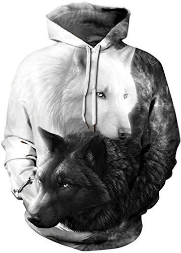 EUDOLAH Damen Pullover 3D Druck Pulli mit Tasche Digitaldruck Pulli mit Aufdruck Galaxy Tier Langarm A-A-Schwarz und Weiß Wölfe L-XL