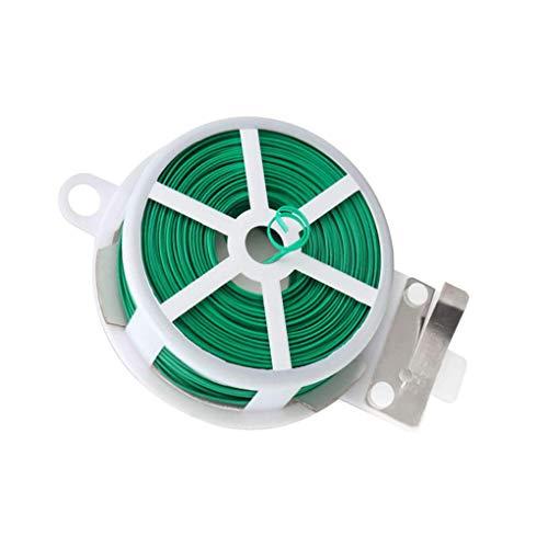 BeIilan Giro Planta Corbata Verde Recubierto de Alambre de Cable de jardinería Home Office Reutilizable Cable artesanía Accesorios 20m