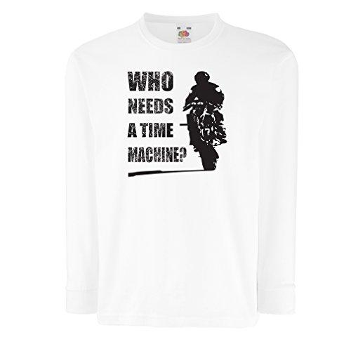 lepni.me Bambini t-Shirt con Maniche Lunghe Abbigliamento Moto (7-8 Years Bianco Multicolore)