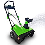 Project One Electric Snow Blower,|15-Amp| 20-Inch Width Steel Auger Dual Electric Motor Snow Thrower, 180° Chute Rotation, 45' Vertical, 30 FT Throwing Distance, Electric Lightweight, Low Noise