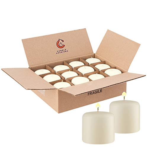 12 Ivory Pillar Candles Bulk 3x3 Inch for Grand Events Wedding Dinner Restaurants Made in USA