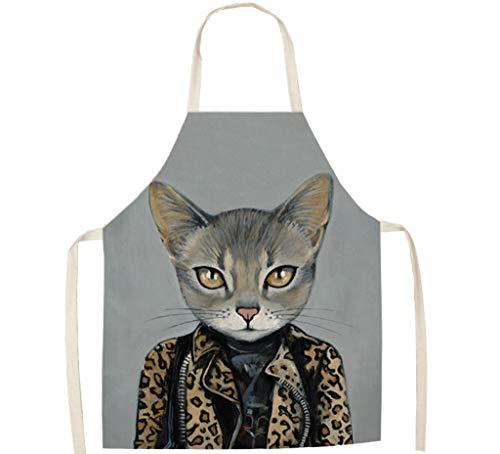 KaiXINSun Disfraz De Leopardo Gatito Chef Delantal De Cocina Algodón Y Lino Niños Adultos para La Cocina Casera Regalo De Cocina BBQ Delantal De Jardín 68 * 55 Cm