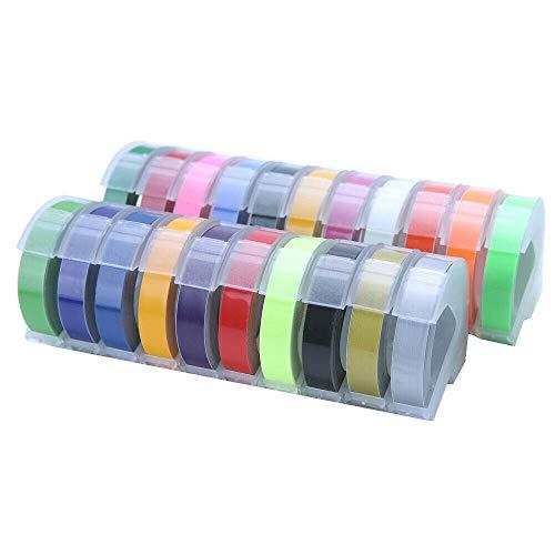 3/5 cintas de etiquetas 3D 3D para etiquetas de grabado manual de 9 mm × 3 m para DYMO MOTEX 5 colores, color plateado 5 X