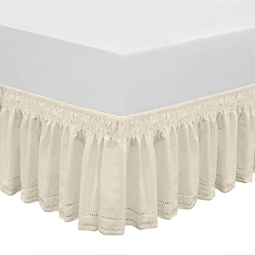 QSY Home Wrap Around Elastic Eyelet Bed Skirts 14 1/2 Inches Drop Dust Ruffle Three Fabric Sides Easy On/Easy Off Adjustable Polyester Cotton(Queen/King)