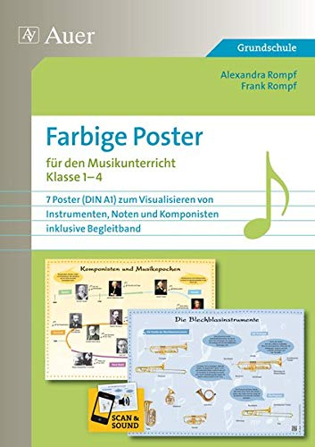 Farbige Poster für den Musikunterricht: 7 Poster (DIN A1) zum Visualisieren von Instrument en, Noten und Komponisten, inklusive Begleitband (1. bis 4. Klasse)