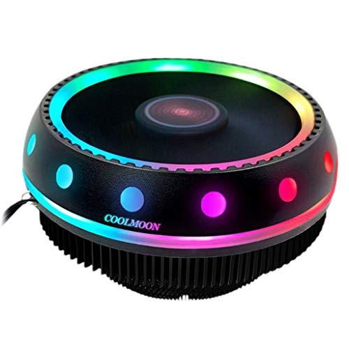 Toygogo Ventilador de Refrigeración CPU RGB Iluminación 3 Pin Enfriador de Aire Radiad