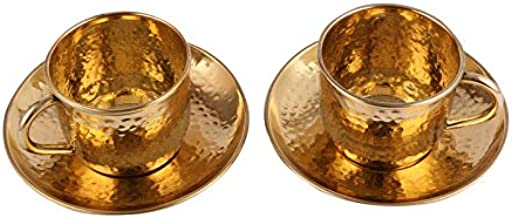Aatm Brass Handicraft Cup Plate Saucer Two Sets Height 2.5 Inch