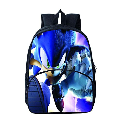 Sonic Printed Kids Backpack, Sonic The Hedgehog Daypack School Bookbag, Laptop Backpacks for Boys Girls Teenagers Game Fans Gift