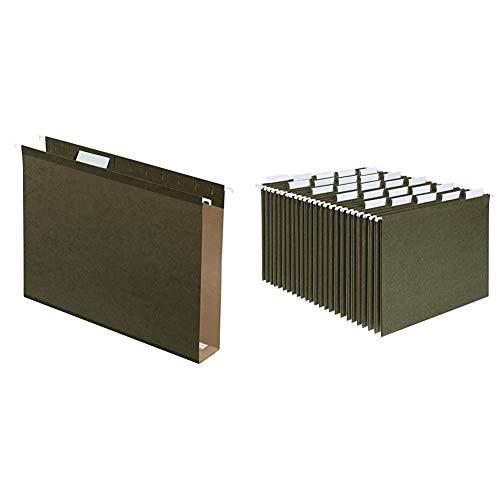 Pendaflex Extra Capacity Reinforced Hanging File Folders, 2', Letter Size, Standard Green, 1/5 Cut, 25/BX & Hanging File Folders, Letter Size, Standard Green, 1/5-Cut Adjustable Tabs, 25 Per Box