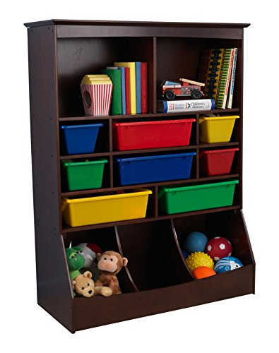 KidKraft Wooden Wall Storage Unit with 8 Plastic Bins & 13 Compartments - Espresso