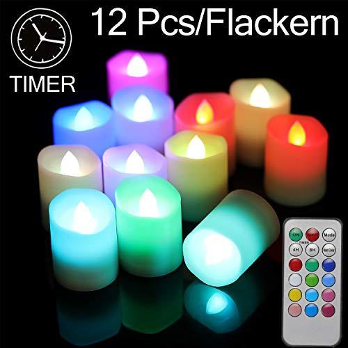 Velas LED con mando a distancia, 12 LED realistas, sin llama, con temporizador para Halloween, Navidad, fiestas, bar, bodas