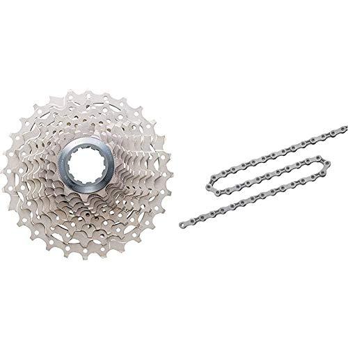 Shimano Ultegra Cassetta, Grigio, 12-30/10 Velocità & CN-6701 Ultegra, Catena Ciclo 116 Maglie Unisex Adulto, Grigio, 10V