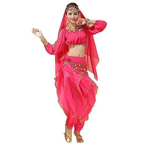 Xinvivion Mujer Danza del Vientre Disfraz, Danza India Etapa de Rendimiento Halloween Carnaval Bailando Outfit,Rosa roja
