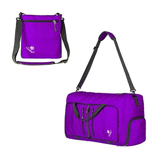 Coreal Damen und Herren Sporttasche Faltbare Reisetasche 60L Lila