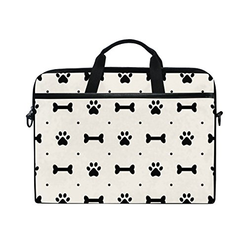 Laptop Case, Dog Paw and Bones Personalised Printed with 3 Compartment Shoulder Strap Handle Canvas Notebook Computer Bag Perfect for Boys Girls Women Men 13 13.3 14 15 inch