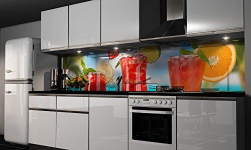 """Küchenrückwand Folie selbstklebend \""""Cocktail\"""" Klebefolie Dekofolie Spritzschutz Küche verschiedene Größen"""
