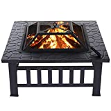 32 inch Outdoor Fire Pit Square Wood Burning Firepit for Outside Steel BBQ Grill Fire Pit Table Bowl with Spark Screen, Log Grate, Poker for Patio Backyard Garden Camping Picnic Bonfire