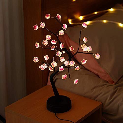 Lámpara LED para mesa de bonsái, 45 cm, árbol de luz artificial, iluminación interior, lámpara de pie, USB y batería, con interruptor táctil, lámpara de mesa para casa, fiesta, decoración de Navidad