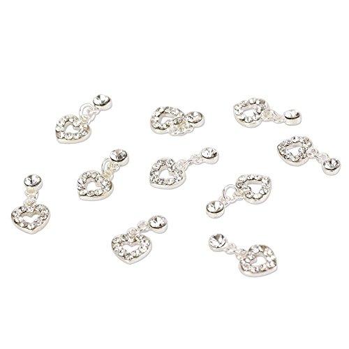 enForten 10 pcs Fashion Nail Charms Silver Dangle Sweet Love Heart 3d Alloy Crystal Rhinestone Metal Nail Art Tips Slice Decoration for Women Girls Ladies