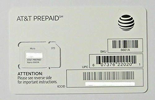 AT&T Nano SIM Card (4FF) for iPhone X, XR, XS, Max 8, 8 Plus, 7, 6, 5, SE, iPad Air, Galaxy S10, Note 9 with TrendON SIM Ejection Tool