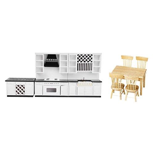 Sharplace 1:12 Puppenhaus Küchenmöbel Miniatur Esstisch + Stühle + Küchenspülschrank + Ofenschrank + Kabinett