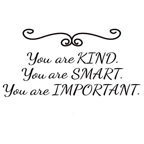 ZSSZ You are Kind You are Smart You are Important Inspirational Motto Strength Quotes Art Letters Vinyl Wall Decal Home Décor