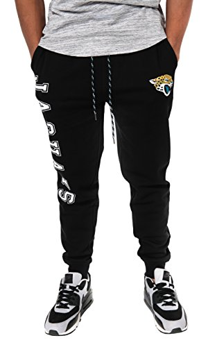 Ultra Game NFL Jacksonville Jaguars Mens Active Basic Jogger Fleece Pants, Team Color Stripe, X-Large