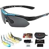 arteesol Gafas de Sol Polarizadas UV400 con 5 Lentes Intercambiables para Ciclismo Bicicleta MTB, gafas ciclismo hombre/milisegundo, Utilizado para andar en bicicleta, correr, escalar