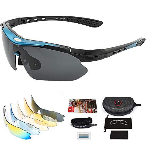 arteesol fahrradbrille UV400 Schutz mit 5 Wechselgläsern, Sportbrille, Rennrad Brille, Radbrille, Sport Sonnenbrille, Polarisierte Sportbrille für Radfahren, Angeln, Laufen, Klettern, Golf