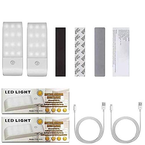 Luz de Noche 12 LED con Sensor de Movimiento, Luz Nocturna Recargable con 3 Modos y Cinta Adhesiva Magnética, Luz Interior para Armario Pasillo, Escalera, Sótano, Cocina, Garaje, Gabinete y Baño