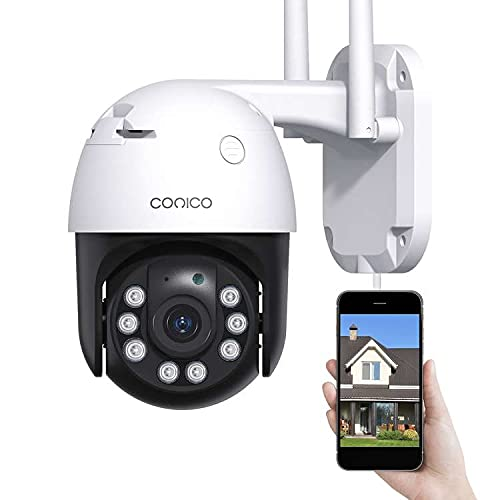 Security Camera Outdoor Conico 360° View 1080P WiFi Home Surveillance Camera with Pan/Tilt, Color Night Vision, 2-Way Audio, Motion Detection, IP66 Weatherproof Works with Alexa