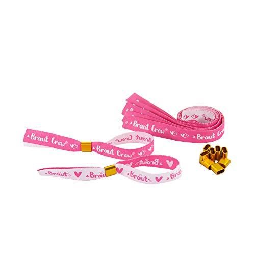Oblique Unique® JGA Armbänder Set 1x Braut - 9X Braut Crew mit Glitzereffekt Junggesellinnenabschied Hen Party Hochzeit Armband Einheitsgröße - Weiß Pink
