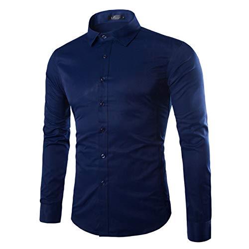 Camisa de Manga Larga para Hombre Primavera y otoño Camisa Ajustada de Moda de Color sólido Simple Camisa de Manga Larga Informal de Oficina de Negocios 5XL