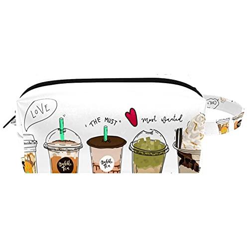 Bolso Cosmético Impermeable Bebida de Verano té con Leche Neceser Viaje Bolsa de Maquillaje Portable Neceser de Bolsa de Lavado de Viajes Vacaciones Elementos Esenciales 21x8x9 cm