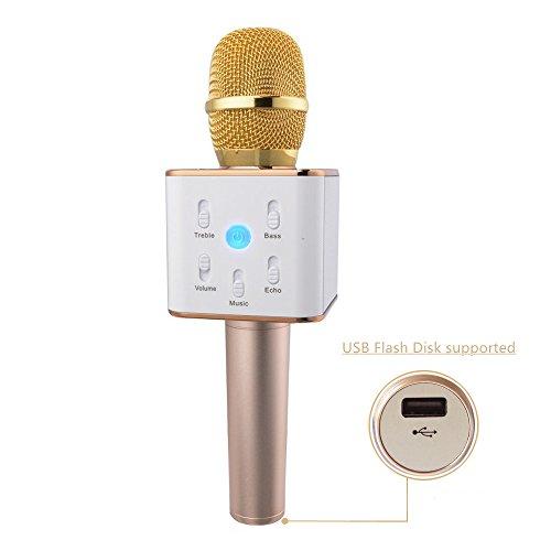 urbun Q7inalámbrico portátil Bluetooth micrófono KTV Karaoke Reproductor estéreo Para karaok App IOS/Android teléfonos inteligentes/almohadillas ordenador con micrófono altavoz ve-oe0014