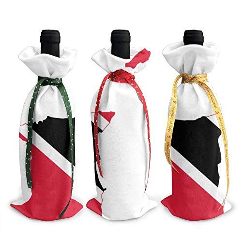 Weinflaschen-Beutel, Weihnachtsmotiv, Flagge, Karte von Trinidad und Tobago, Dekoration, wiederverwendbare Weinflaschen-Geschenktüten für Dinner-Party, Tischdekoration, 3 Stück