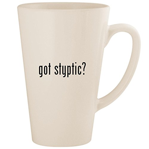got styptic? - White 17oz Ceramic Latte Mug Cup