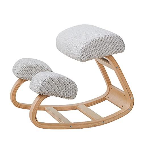 KaO0YaN,Ergonomic Kneeling Chair, Rocking Balancing Wood Knee Stool, Neck Pain & Spine Tension Relief, Thick Comfortable Knees Cushions (Gray)