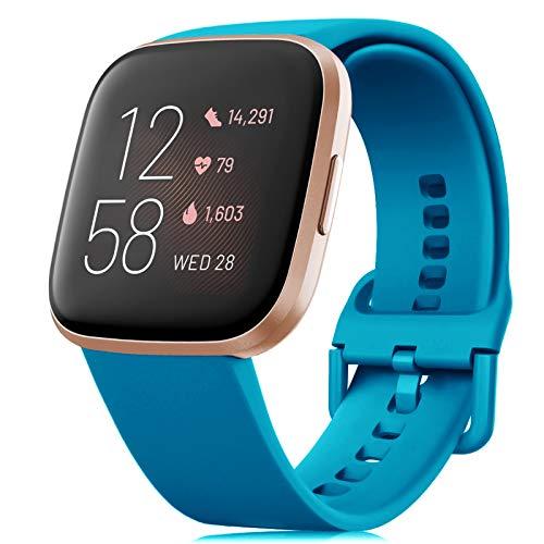 RIOROO Cinturino Compatibile per Fitbit Versa/Versa 2/Versa Lite/Blaze Cinturino, Cinturini in Silicone Morbido per Donna Uomo, Cinturino di Ricambio Blu Mare(Esclusi Gli Orologi),L
