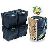 Sortibox - Juego de 4 cubos de basura, para la cocina, baño, papeleras (80 L, 4...