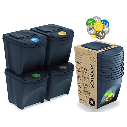 Prosperplast Set of 4 Recycling Bins 100L Sortibox Plastic Anthracite 4 x 25L
