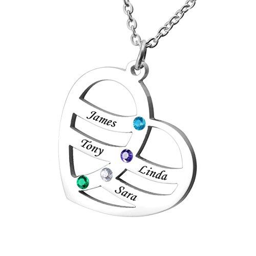 HOUSWEETY Namenskette Edelstahl Halskette mit Geburtssteinen - Personalisiert mit 4 Namen