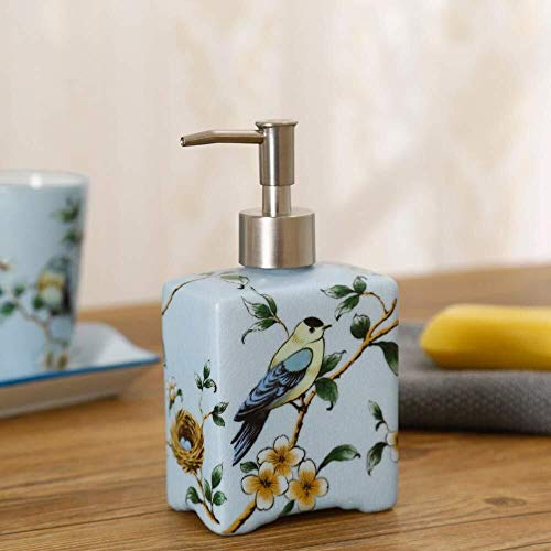 Tangrong Vloeibare zeep Container, Original Design Refillable Blue Eco Resin keramische zeepdispenser, Hand Painted Bird Flower Plein Shampoo Hand Sanitizer fles, 385ml