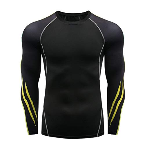 XQXCL Men's Round Long-Sleeved T-Shirt Cool Dry Compression Baselayer Top