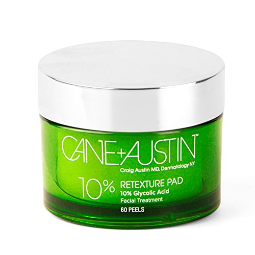 CANE + AUSTIN Glycolic Acid Facial Retexture Pads, Exfoliating 10% Peel Pads, Reduce Signs of Aging While Improving Skin Texture & Tone, Suitable for Sensitive Skin, 60 pads